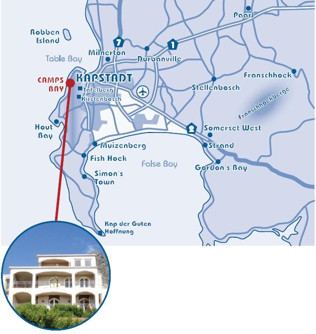 Lageplan Villa Blue Bay Camps Bay buchen Kapstadt