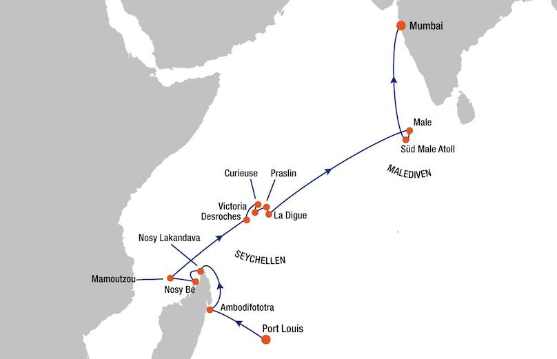 MS Europa Mauritius nach Mumbai