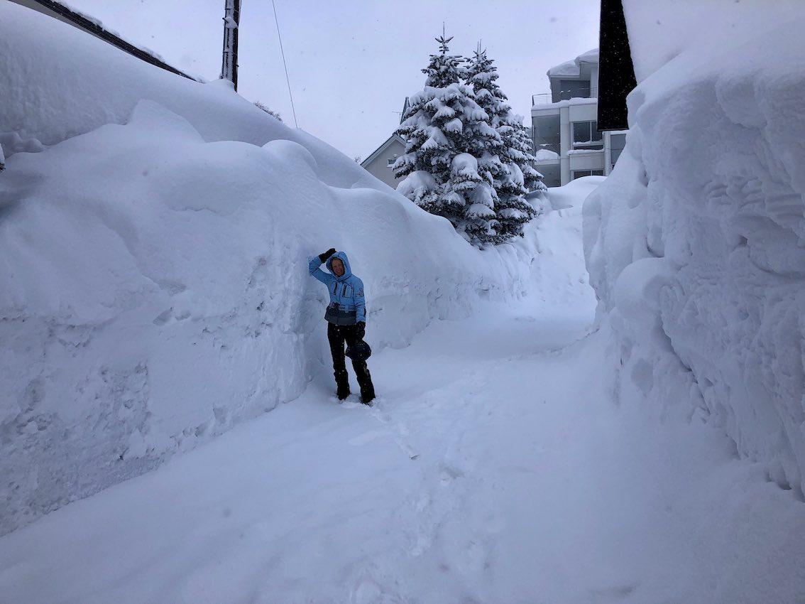 Schneehöhe Niseko auf Straße