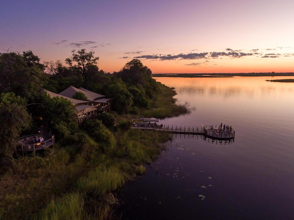 dumatau Wilderness Camp von oben am See