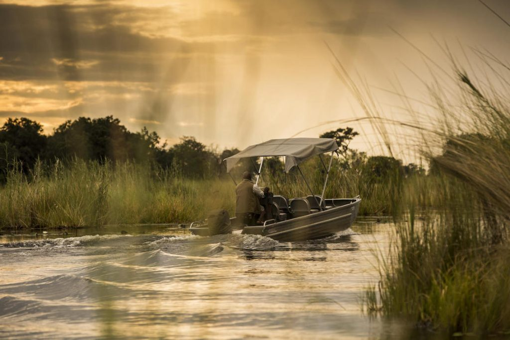 Bootsfahrt im Camp in Botwana