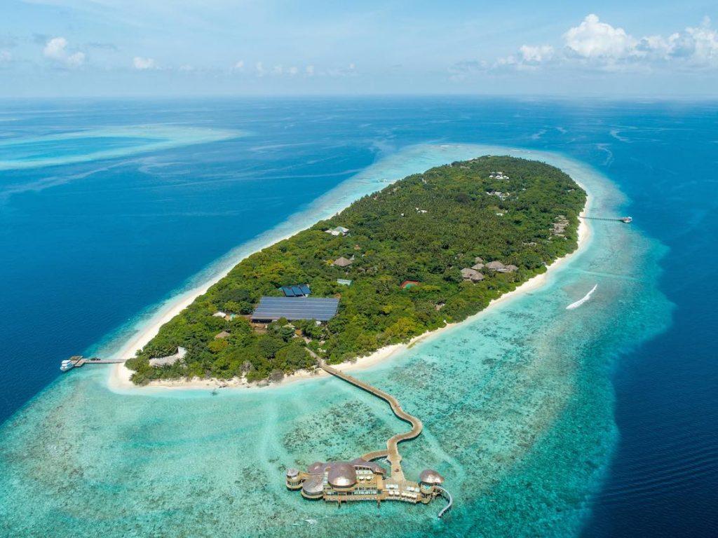 Soneva Fushi Insel Luftaufnahme