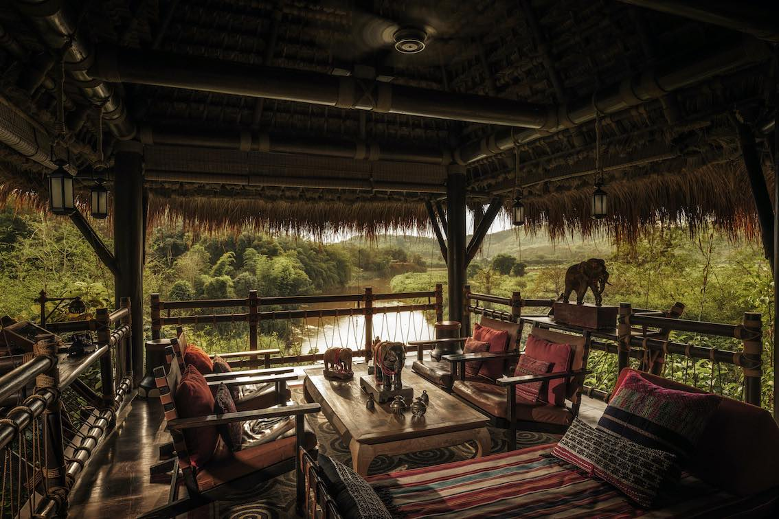 Four Seasons Tented Camp Golden Triangle Lounge am Fluss